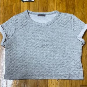 Tops - Gray quilted crop top